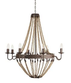 "An elegant shape is created in this large 33""d Brittany Roped Chandelier with rope and rustic accents, complete with eight chandelier lights."