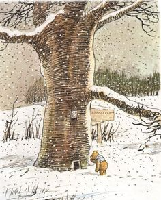 Illustration by E.H. Shepard for A.A. Milne's classic and charming Winnie-the-Pooh stories. None of the sadly most well know obnoxiously animated Pooh absurdity here, or in the book.
