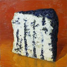 "Black Castello, 2 - I was commissioned to revisit this wonderfully tasty cheese as a portrait and then a change of plans had me paint another subject for this person. Now Ive got two Black Castello portaits available! Both are pinned here and for sale.    8x8"" oil on wood panel,  © mikegeno.com"
