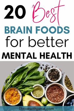Are you eating the 20 best brain foods to eat for better brain health? This is about your overall brain health. Improve focus, concentration, memory, and brain aging with these foods that you really ought to be eating. See the list here of foods to eat to improve your brain health. Nutrition And Mental Health, Good Mental Health, Brain Health, Health Fitness, Foods For Depression, Good Brain Food, Best Brains, Foods To Eat, Superfoods