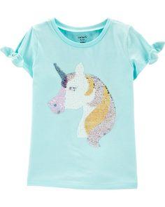 GAP Kids flip Sequin Reversible Unicorn Pink Yellow Girls Top Glitter shirt NEW