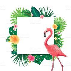 Vector de fondo con Tropical con hojas, flores y Flamingo illustracion libre de derechos libre de derechos