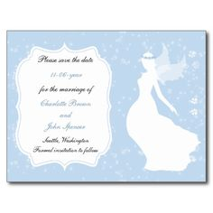 blue fairy tale wedding save the date postcard