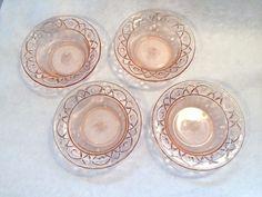 Vintage Depression Glass Dessert Bowls Pink Floral Set of Four | Pottery & Glass, Glass, Glassware | eBay!