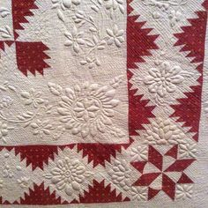 Made by Amelia Heiskell Lauck of Winchester, Virginia, as a wedding gift for one of her many children. The hand quilting is exquisite Longarm Quilting, Hand Quilting, Machine Quilting, Machine Embroidery, Antique Quilts, Vintage Textiles, Two Color Quilts, Red And White Quilts, Quilting Designs