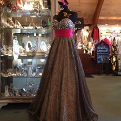 Wishful prom thinking. Leopard on bottom, sparkles on top.