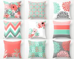 Pillow Covers, Throw Pillow Covers, Lucite Green Coral Grey Blush White, Spring Pillow Covers Mix and Match! Decorative Pillows - Decor Home Diy Pillow Covers, Pillow Cover Design, Decorative Pillow Covers, Coral Throw Pillows, Toss Pillows, Brown Pillows, Accent Pillows, Living Room Decor Colors, Bedroom Colors