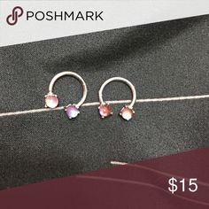 Nipple Rings Pinkish blue, horse shoe nipple rings. 14G Jewelry