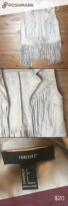 Light Tan Pho Leather Fringe Vest This is NWOT. Forever 21 pho leather fringe vest. The color is light tan, the size is small. Super cute. Forever 21 Other