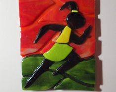 Unique glass art by LeavesOfGlassArt on Etsy Runner Girl tack-fused to Red and Green background, to look like a night-time silhouette in bright neon outfit. Up to 4 layers of glass in spots. Stained Glass Art, Fused Glass, Neon Outfits, Girl Silhouette, Runner Girl, Green Backgrounds, Night Time, Tack, Most Beautiful Pictures