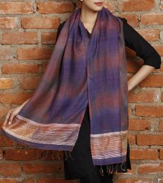 Pink & Blue Tussar & Wool Ikat Stole with Hand Block Prints