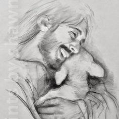 Picture Of Jesus Laughing, Laughing Pictures, Jesus Sketch, Jesus Smiling, Jesus Drawings, Christian Artwork, Christian Drawings, Christian Wallpaper, Jesus Photo