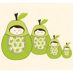 Pear Girl Nesting Doll Note Card Set