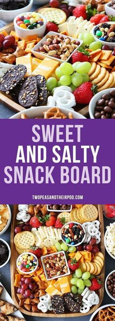 Sweet and Salty Snack Board ~ this snack spread is perfect for game day or any party.the perfect party food for easy entertaining! snacks, Sweet and Salty Snack Board Snacks Für Party, Appetizers For Party, Appetizer Recipes, Snack Recipes, Cooking Recipes, Oats Recipes, Party Desserts, Snacks Ideas, Simple Party Food