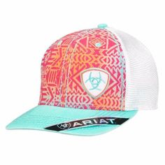 Trendy, quality Ariat cap by M&F Western Products. It features a white, orange and turquoise Ariat shield logo and contrast stitching on the front panel. Polyester front panel and brushed cotton bill. Cowgirl Hats, Western Hats, Western Wear, Cowgirl Bling, Western Style, Country Hats, Country Outfits, Western Outfits, Cowgirl Outfits
