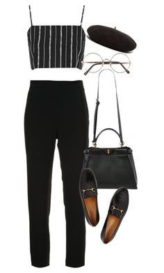 """Sem título #1441"" by oh-its-anna ❤ liked on Polyvore featuring Brandon Maxwell, Topshop, Fendi, Gucci, Sunday Somewhere and Yves Saint Laurent"