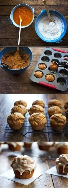 Healthy Maple Glazed Pumpkin Muffins