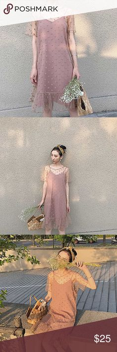 Mesh polka dot dress New with tags. You will receive One slip dress and one mesh outwear. Dresses