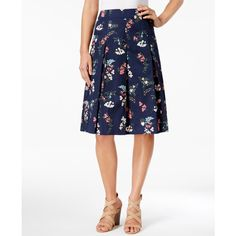 Charter Club Petite Floral-Print A-Line Skirt, ($50) ❤ liked on Polyvore featuring skirts, intrepid blue floral combo, a-line skirt, blue cotton skirt, blue floral skirt, knee length a line skirt and white floral skirt