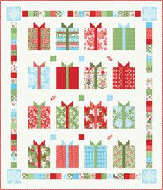 Christmas presents quilt made from Moda's Flurry fabrics...free pattern!