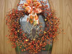 Autumn Berry Wreath For Fall Decoration  Silk by donnahubbard, $45.00