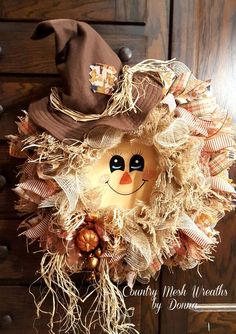 Scarecrow Wreath for Fall! Hand painted face and Handmade hat. Frayed Burlap Mesh and Ivory Burlap Mesh. Oodles of Ribbon!