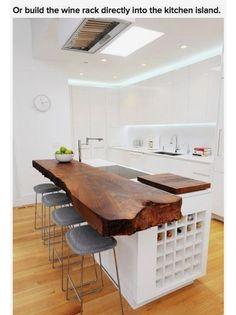 Built-in wine rack in kitchen island
