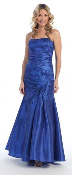 Strapless Embroidered Long Formal Dress Royal Blue Bolero Jacket $178.99