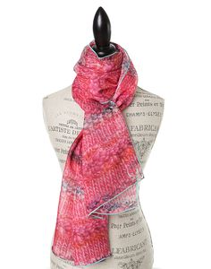 "SILK PRINT SCARVES FOR WOMEN IN LUXURIOUS SILK CHIFFON IN PINK  PEONY.  GŌBLE luxurious rectangular silk scarves elevate any outfit with the grace and artistry of trompe l'oeil. FABRIC & COMPOSITION 100% Silk Chiffon 20"" X 70"" (50cm x 178cm) GOBLE.CA"