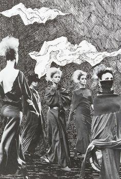 Comme des Garçons illustration by Edward Gorey and Bill Cunningham for Visionaire #7, 1992