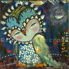 Owl Print  8x8 inch Print of a Reproduction of by juliettecrane, $25.00