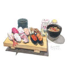 Watercolor Food, Watercolor Paintings, Recipe Drawing, Sushi Lunch, Food Plus, Food Painting, Sendai, Sushi Recipes, Food Drawing