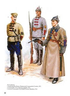 Bolsheviks uniforms of the Russian civil war, 1917-1922.