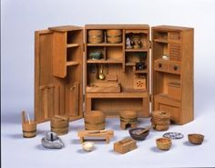 Miniature Japanese kitchen from from the Museum of Omihachiman City in the Shiga Prefecture. It is a perfect scale model of a traditional Japanese kitchen and its wide range of instruments and utensils.  20th century.