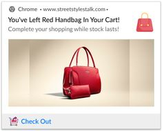Check out these abandoned cart push notification templates for more inspiration to boost sales. Red Handbag, Abandoned, Cart, Campaign, Templates, Medium, Blog, Socialism, Red Tote Bag