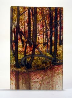Autumn Reflections, Jerre Davidson fused glass artist