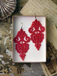 Leila lace earrings @whiteowl @Etsy