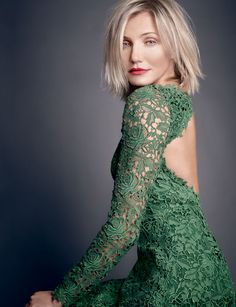 Cameron Diaz for ELLE UK. Hair by George Northwood. Hair color by Tracey Cunningham.  Dress by??