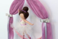 Needle felted ballerina doll on a hairclip holder mobile