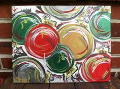 Christmas Ornaments Abstract Painted Canvas