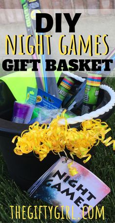 This DIY Night Games Gift Basket comes with 10 Night Games Instruction Cards that you can print for free! This makes a great gift for tweens or teens and will help them be active and have tons of fun outside.#diygifts #diygiftideas #diygiftbaskets#giftbaskets #giftbasketideas#tweengifts #teengifts #nightgames#outdoorgames #glowinthedark#glowinthedarkparty #dollarstore#freeprintablesforkids #freeprintables#teenparty #tweenparty#birthdaygiftideas #birthdaygiftsforkids#birthdaygiftsforteen