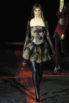 Alexander McQueen Leather Brocade & Fur Dress Profile Photo