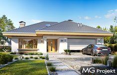 """Projekt domu Uroczy to parterowy dom jednorodzinny o wdzięcznej nazwie dla 3-5cioosobowej rodzinye. Budynek został zaprojektowany na planie litery """"T"""". Jego rozłożysty plan parteru, na którym zmieszczono wszystkie funkcje domu przykryto wielospadowym dach…"""