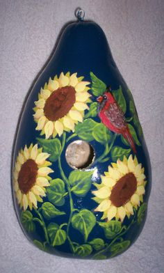 Sunflower Garden with Red Cardinal on Navy Blue Painted Gourd birdhouse Garden