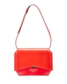 Bow-Cut Leather Shoulder Bag, Red by Givenchy at Neiman Marcus.