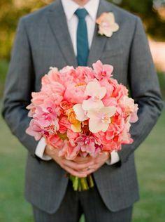 Bridal Bouquet of Coral peonies, tea roses, mini phalaenopsis. My dream bouquet! Coral Wedding Flowers, Flower Bouquet Wedding, Floral Wedding, Bridal Bouquets, Pink Flowers, Purple Orchids, Cream Flowers, Wedding Colors, Bouquet Champetre