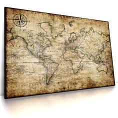Antike Weltkarte II, Leinwand Bild auf Keilrahmen, Alt, Vintage, Antik, Poster   Möbel & Wohnen, Dekoration, Bilder & Drucke   eBay!