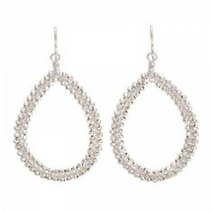 """Cleo Silver - The Cleo is a fun to wear beaded teardrop earring. The earring comes in your choice of gold plated and sterling silver, is approximately 2"""", and features detail wire wrapped beads. Please make your selections below. Also available in a smaller size, the Cleo Mini."""
