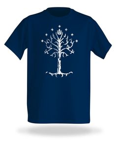 Lord of the Rings: Tree of Gondor T-Shirt. This navy t-shirt features the royal standard of Gondor: an image of the White Tree, surrounded by seven stars and topped with a crown. $19.99