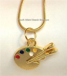 Gold Plated Artists Palette Necklace Pallet Artist Art Teacher Gift Enamel USA #SouthMiamiBeachBoutique #Pendant